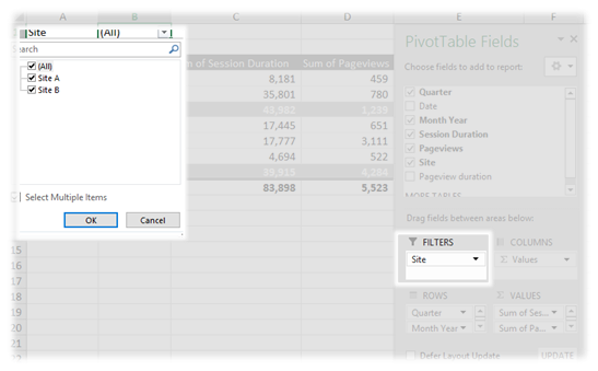 how to use filter in pivot table